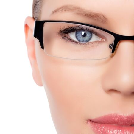 woman wearing glasses: Attractive Young Optician Woman With Blue Eyes In Glasses