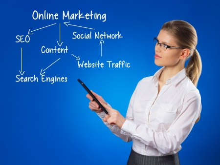 web portal: Business woman search online marketing  SEO scheme with touchpad Stock Photo