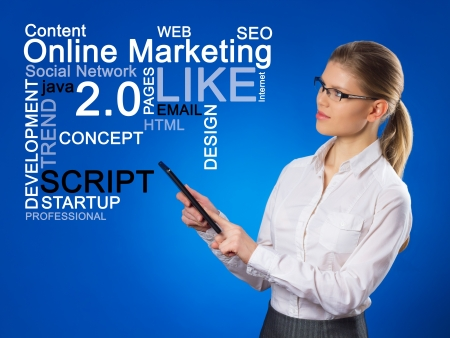 devise: Beautiful business woman pushing SEO process  Network administrator with touchpad looking at on-line marketing chart  Stock Photo