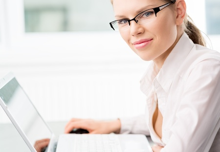 financial planner: Smiling female market analyst Stock Photo