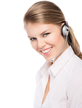 telework: Hotline service woman assistant with hands free  Portrait of beautiful blond Caucasian female phone operator  Isolated on a white background  Stock Photo