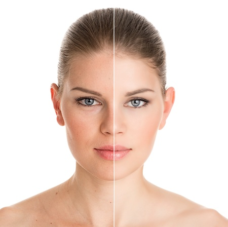 collagen:  Before and after cosmetic operation  Young pretty woman portrait, isolated on a white background