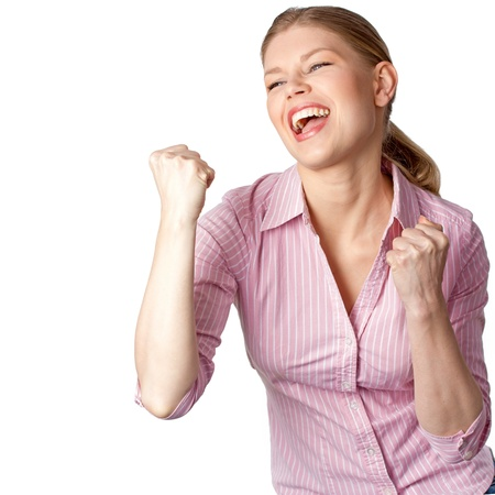 woman screaming: Exited success woman screaming happily, isolated on a white background