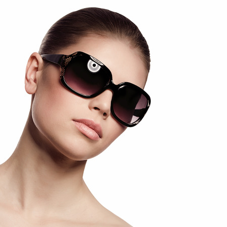 Fashionable woman in sunglasses  Isolated over white background Stock Photo - 22300604