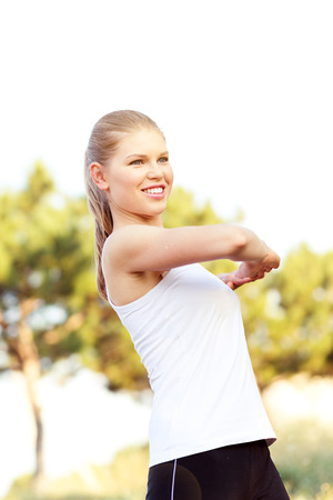 start to cross: Cross runner woman workout on the nature