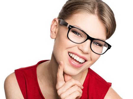 eyeglass frame: Happy smiling optician woman wearing spectacles, isolated on white background  Portrait of beautiful blond stylish female model in fashionable eyeglasses
