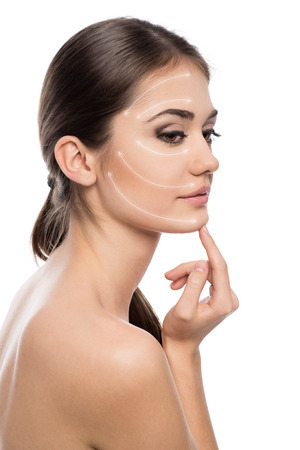 Cosmetic surgery  Portrait of beautiful woman ready for rejuvenation therapy