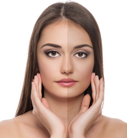 Solar protection  Close-up of beautiful Caucasian woman face before and after tan  photo