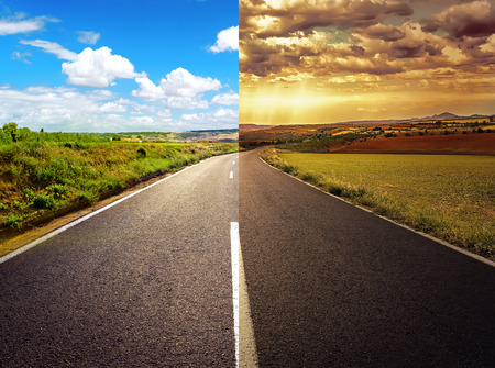 easy way: Concept of crossroad for new or old life.