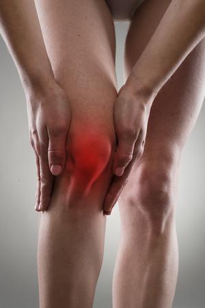 rheumatoid: Osteoarthritis. Knee injury. Bone fracture. Female having sprain problems, holding her painful leg.