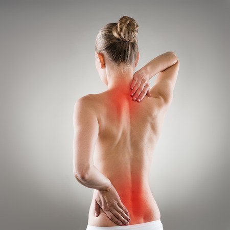 stretches: Lumbago and backbone stretch concept. Painful woman back Stock Photo