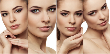 Close-up of attractive young woman face with fresh clean skin. Facial treatment and protection concept.