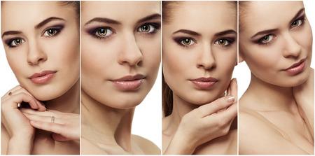 Close-up van aantrekkelijke jonge vrouw gezicht met frisse schone huid. Gezichtsbehandeling en bescherming concept.