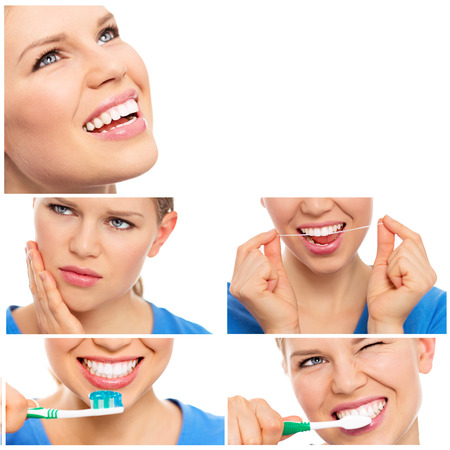 Collage of dental care woman. Teeth whitening, cleaning and treatment.