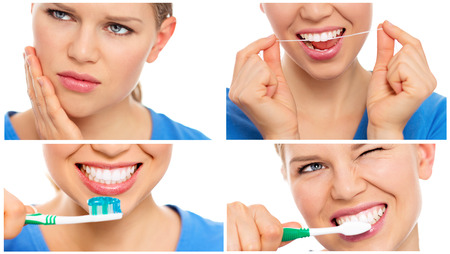 smile close up: Teeth cure and care. Teeth bleaching. Collage of teeth protection female\\ Stock Photo