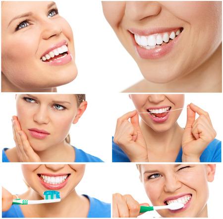 치아 치료와 치료. 치아 표백. 치아 보호의 콜라주 여성