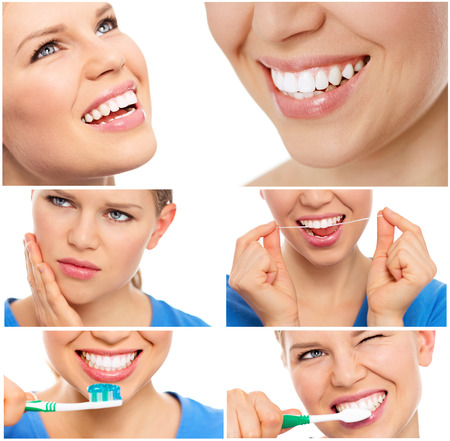 bleaching: Teeth cure and care. Teeth bleaching. Collage of teeth protection female\\ Stock Photo
