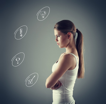 hesitations: Concept of brainstorm and quest. Woman having thoughts, analyzing opportunities.