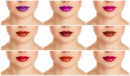 Collage der weiblichen Lippen mit verschiedenen bunten Lipgloss. Fashion Lippen-Make-up und Pflege. Standard-Bild - 38790840