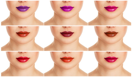 lips: Collage of female lips with different colorful lipgloss. Fashion lips make-up and care. Stock Photo