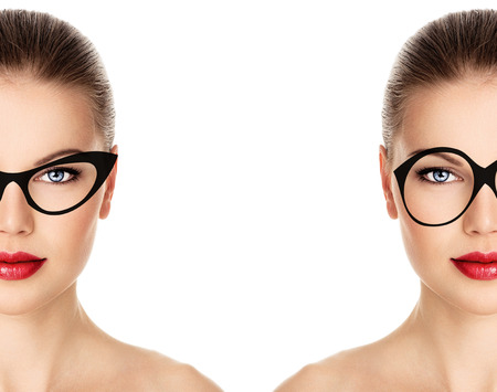 Young beautiful girl in black and white rim of optical glasses. Close-up portrait of lovely Caucasian woman model wearing stylish retro eyeglasses.