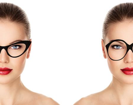 mulher: Menina bonita nova no aro preto e branco de vidros  Imagens