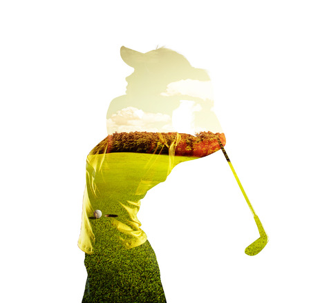 Double exposure of young female golf player holding club combined with green field and sky. Golfing concept. Stockfoto