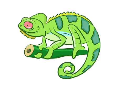 Colorful Chameleon Cartoon Clipart Иллюстрация