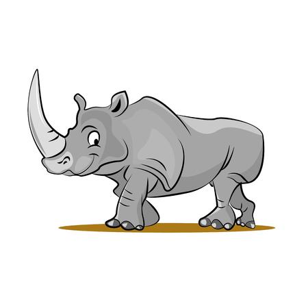 Lustige Nashorn-Karikatur-Vektor-Illustration