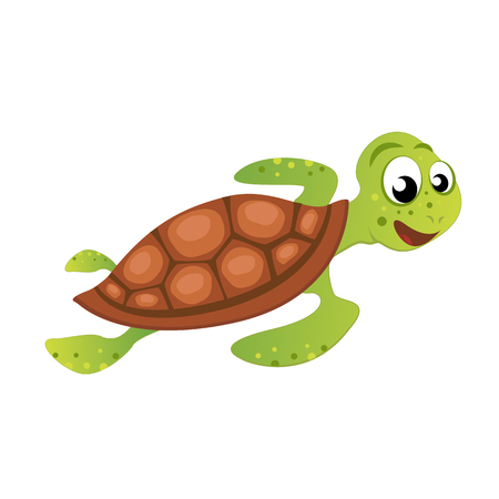Funny vector illustration of Sea Turtle