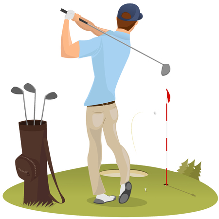 Vector illustration of golf player teeing off