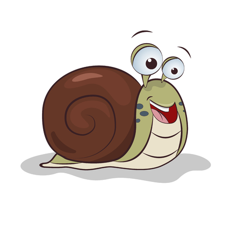 Funny snail illustration. Vector flat character.
