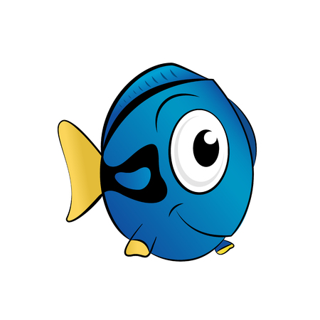 Funny blue ocean fish vector illustration