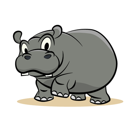 Cute grey hippo vector illustration