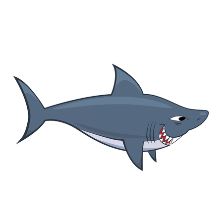 Cute shark cartoon illustration