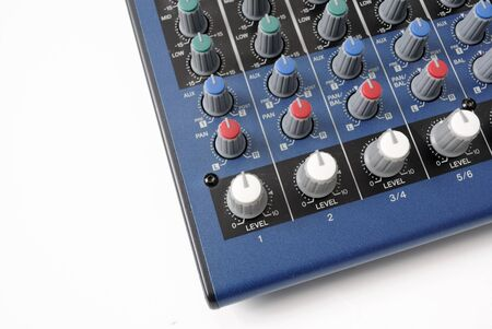 preamp: A the mixing board of preamp from the bottom.