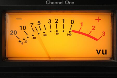 A vu meter on channel one on an audio compressor.