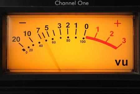 decibels: A vu meter on channel one on an audio compressor.