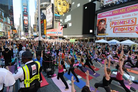 New York City, USA - June 21, 2010 - Participants in Yoga in Times Square Sajtókép