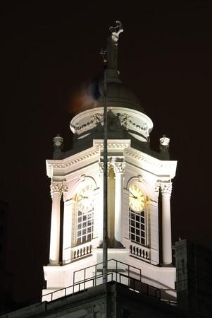 Clock tower at New York City Hall at night