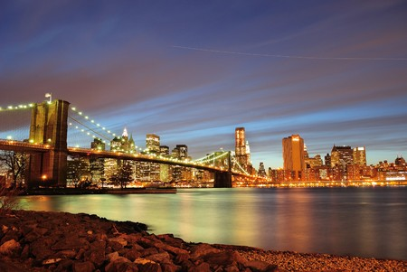 east river: New York City Skylin at night.