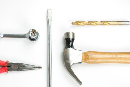 Array of tools isolated on a white background. photo