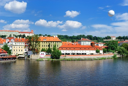 vltava: skyline of prague, czech republic from across the vltava river. Stock Photo