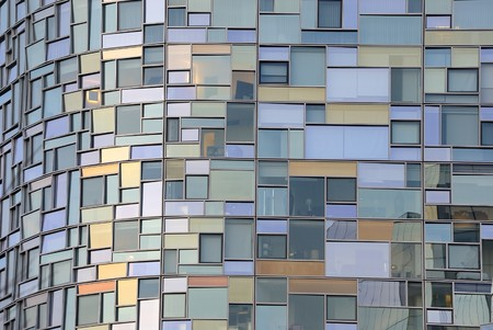chelsea: Abstract close up of the glass facade of the Nouvel apartment building in New York city.