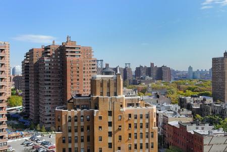 lower east side: Horizonte de Lower East Side de Nueva York.