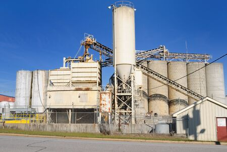 vats: An industrial cement processing facility. Stock Photo
