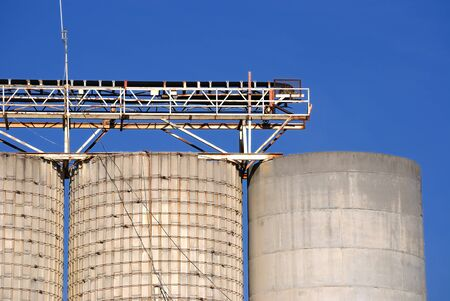 An industrial detail at a cement processing facility. photo