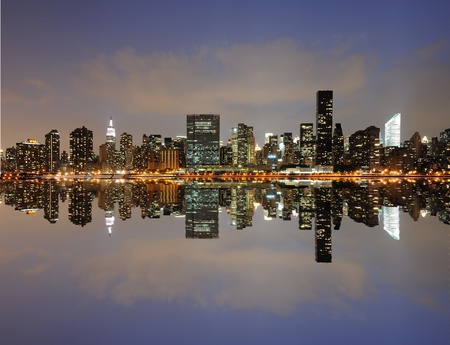 skylines: The Lower Manhattan Skyline with serious reflections in New York City.