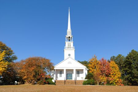 church tower: A southern Baptist Church in rural surroundings.