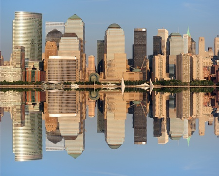 The Lower Manhattan Skyline with seus reflections in New York City. Stock Photo - 8407257